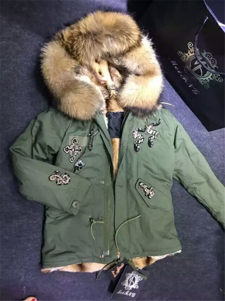 Fashionable NEW Beading fur parka faux fur lined and natural real big raccoon dog fur collar jacket fur coat parka