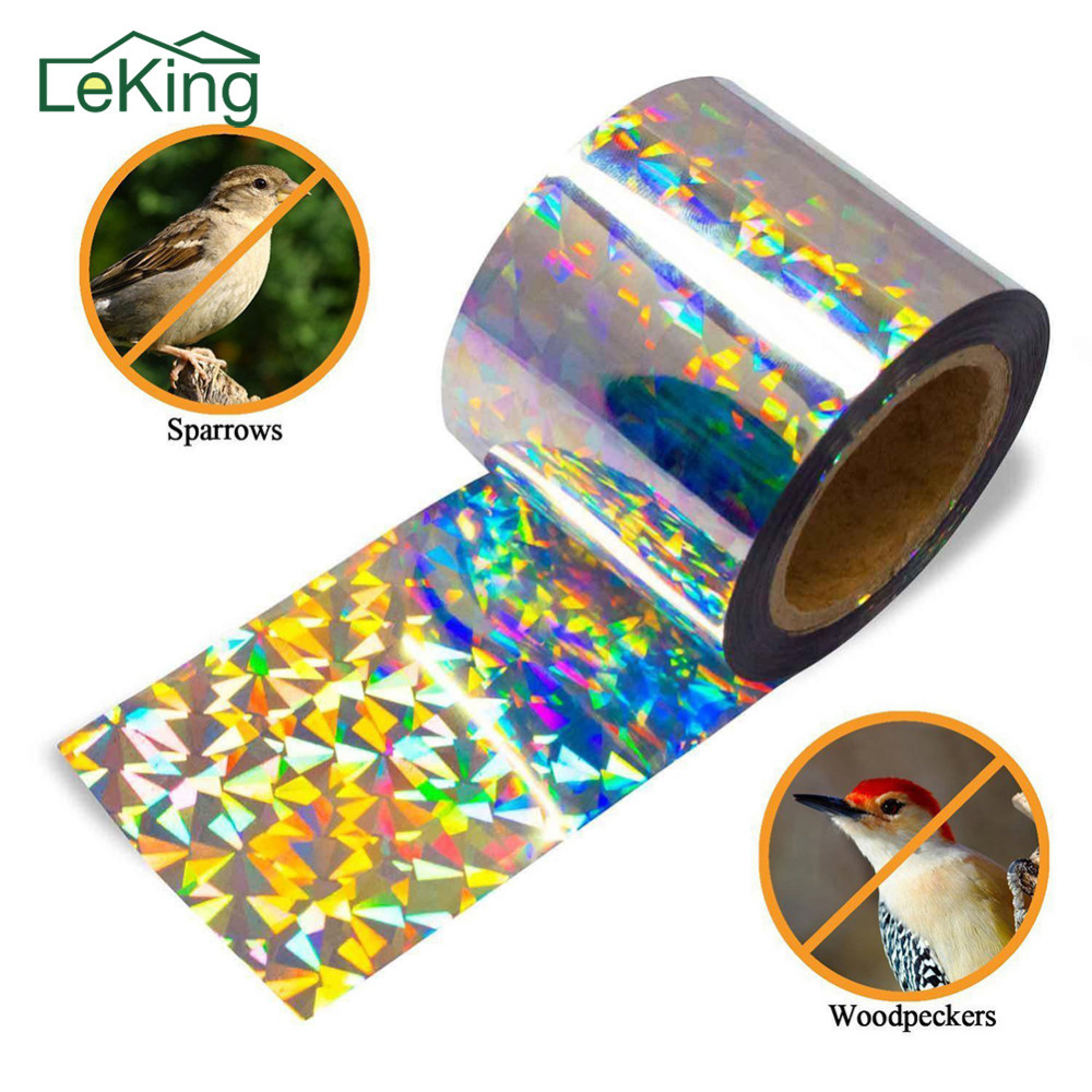 New Improved Bird Scare Tape Holographic Repellent Design Double Sided Reflective Scarecrow Ribbon Flash Bird Deterrent Tape