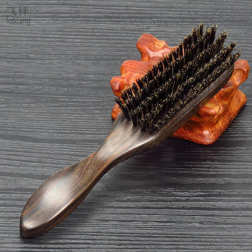 FEIXIANG1PC Wild boar mane comb Ebony hairbrush dandruff massage hair comb Mane comb straight hair brush hair bristles D5 proac response d 48 ebony