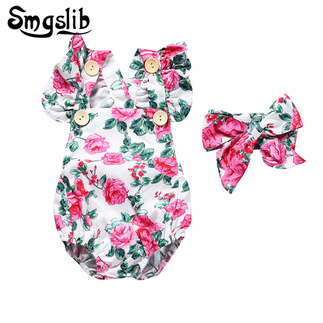 9d23cef8f7 Baby girl romper Headband Set infant floral ruffle romper 1st birthday  summer newborn jumpsuit baby costume Christmas Gift