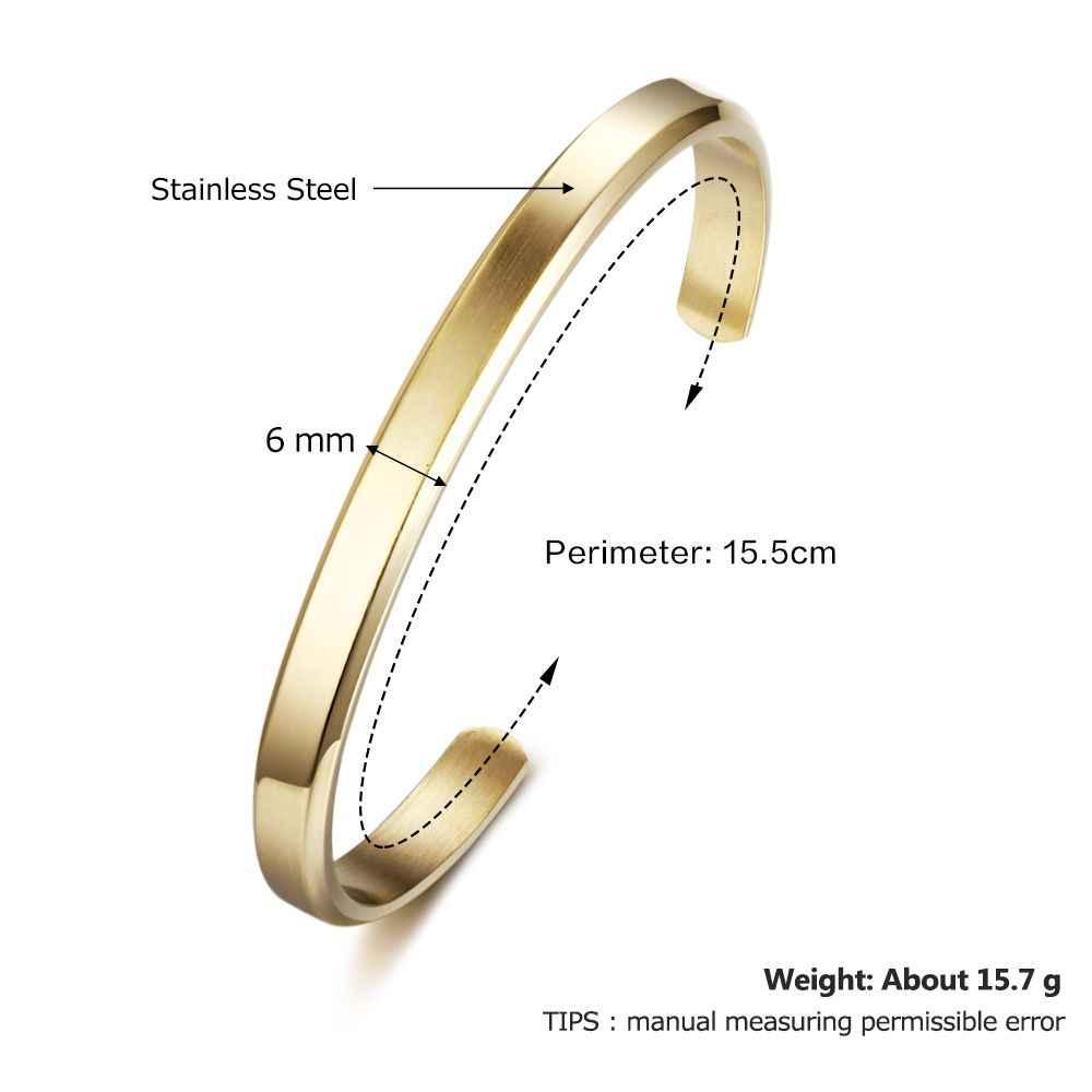 6mm largeur cadeau personnalisé gravé nom ID bracelet pour femmes bijoux en acier inoxydable Bracelets et Bracelets (bijouora BA102300)