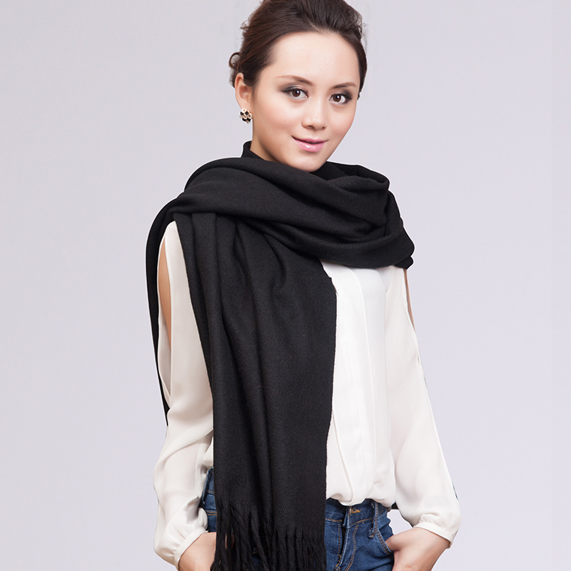 Fashion Shawl Thick Winter   Scarf     Scarves     wrap   Pashmina Solid Color Faux Cashmere Black YW1041