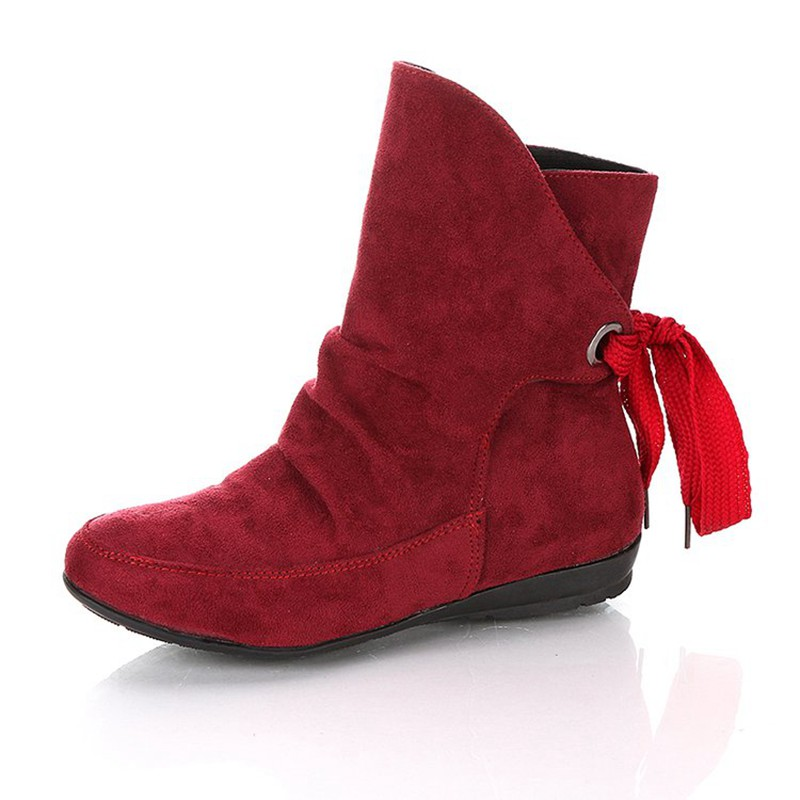 COOTELILI Plus Size Ankle Boots For Women Shoes Lace-Up Ladies Shoes Fashion Rubber Boots Women Winter Shoes Red Black 41 42 43  (4)