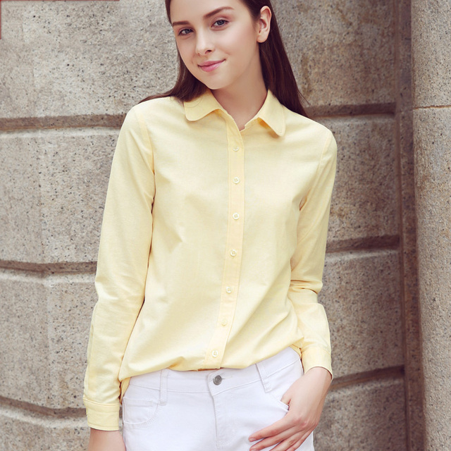 Brand Women Blouse 2018 New Casual Long Sleeved Cotton Oxford White Shirt Woman Office Plus Size Shirts Blusas Feminine Blouses Women Shirts