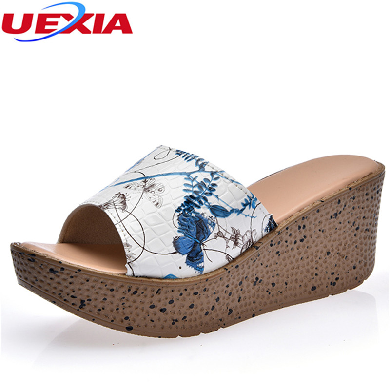 UEXIA Summer Increase women slippers Open Toe Thick Soled Female Beach Wedges Outside Wedges Outside Slippers Slides Sandales uexia summer shoes women flats increase high heel leather peep toe thick soled female footwear women wedges mules casual ladies