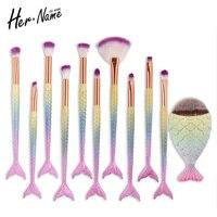 Hername Unicorn Makeup Brushes Mermaid Brush Eye Shadow Foundation Eyebrow Makeup Brushes Fishtail Brush Comestic Tool