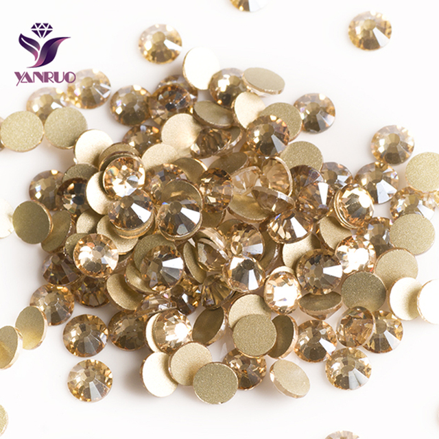2058NoHF Crystal Golden Shadow Rhinestones for Nails Art Crafts Sewing Strass  Stones and Crystals on Fabric a48be8f04901