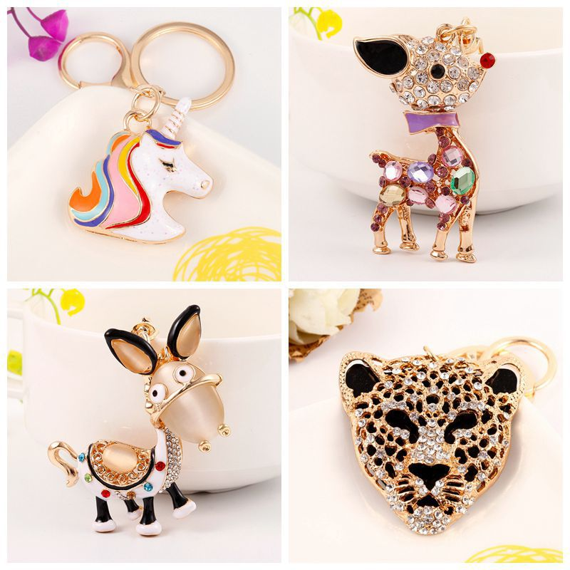 Enthusiastic 2pcs/lot Coloured Drill Donkey Horse Keychain Pendant Lobster Clasp Buckle Diy For Home Component Key Button Pendant Ornament Arts,crafts & Sewing Home & Garden