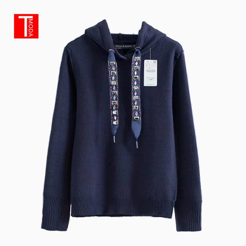 High Quality 2019 Women Hoodie Sweatshirts Hooded Long Sleeve Beading Knitted Pullovers Women Sweatshirt Casual Sweat Femme Tops