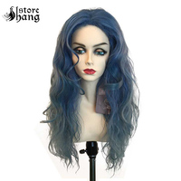 Gothic Wicked Witch Costume Wig Ombre Blue Grey Long Curly Wave Hair Movie Into the Woods Witch Cosplay Wig Fancy Dress Party