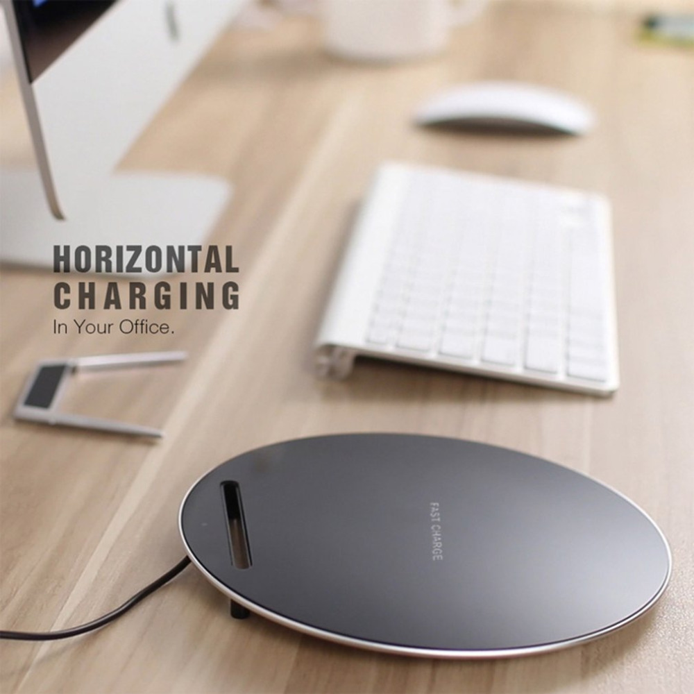 1000mah Fast Wireless Charger Round Shaped Dock Station For Samsung For iPhone Support For QI Charging Pad Mobile Phone Holder