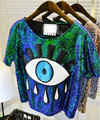 Free Shipping Summer Style New Fashion Sequined Big Eye O neck Short Paillette Printed  Women T shirt  With High Quality
