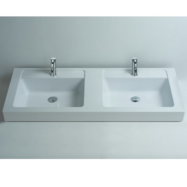 Rectangular Matt Solid Surface Stone Counter Top Wash Sink Bathroom Wall  Hung Corian Double Washbasins RS3806