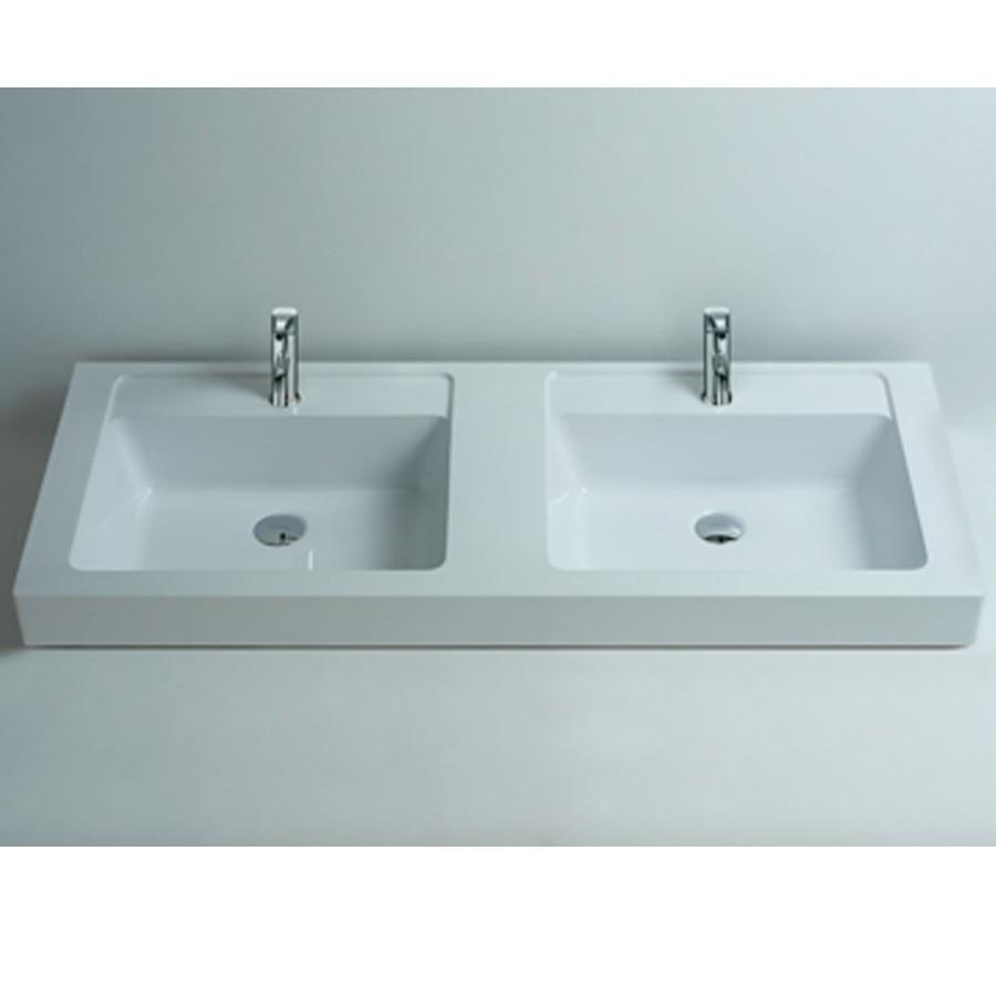Rectangular Matt Solid Surface Stone Counter Top Wash Sink Bathroom Wall Hung Corian Double Washbasins RS3806 756