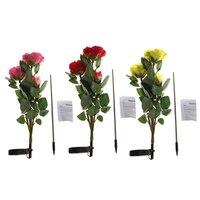 Lámpara de luz de noche de Jardín de flores con energía Solar 3 Rosa led decoración para fiestas al aire libre 2019 nueva decoración tu farol de jardín