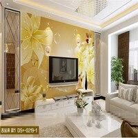 Mural Wallpaper For Living Room Golden Lily Flower Art Curve Wall Paper Bedroom Background Sofa Modern