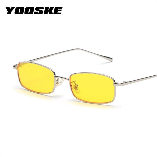 YOOSKE Novo Pequeno Quadrado de Óculos De Sol Das Mulheres Dos Homens Do  Metal Do Vintage 120663b098