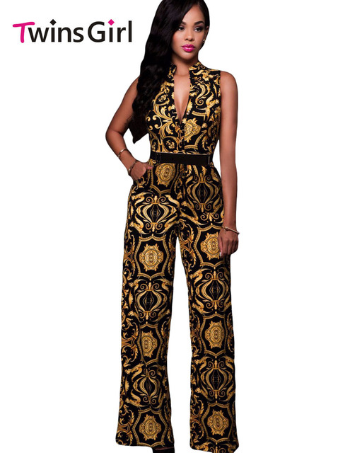 2017 New Fashion Plus Size Sexy Club Rompers Women Jumpsuit 2 Colors Print Gold Belted Jumpsuit LC64195 macacao feminino 64021