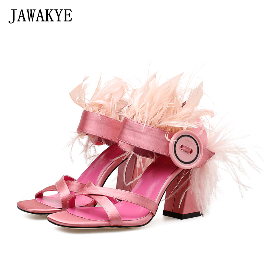 JAWAKYE New Chunky High Heels Pink Fur Sandals Women Ankle Buckle Button Feather Shoes Summer Party Dress Shoes zapatos mujer new rhinestone women sandals ankle buckle strap fashion open toe comfortable chunky high heels red black shoes zapatos mujer