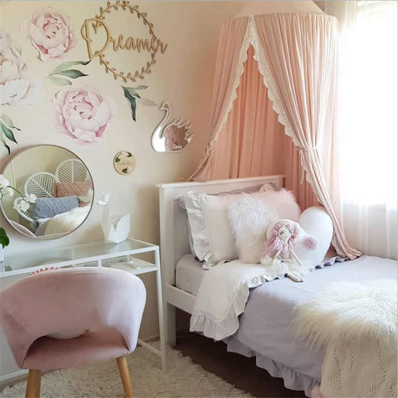 2019 New Kids Baby Bedcover Bed Canopy Mosquito Net Tent Cotton Curtain Bedding Dome Mosquito Net White Pink Grey