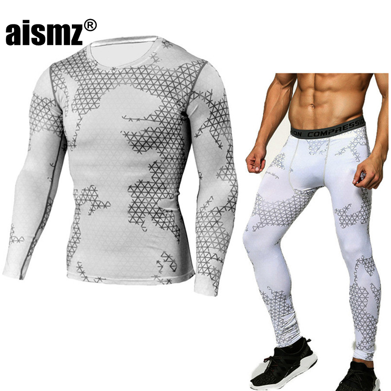 Aismz compression shirt tactical MMA rashgard union suit Mens Long Sleeve T-Shirt + tights for men Set pants Fitness Clothing ...