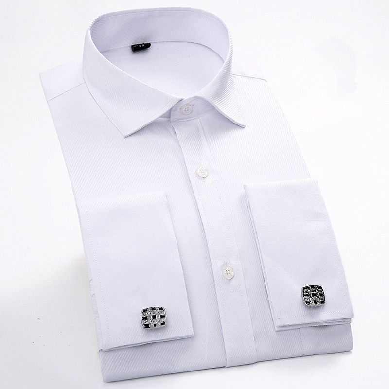 New 2017 france button button patchwork white collar for High quality mens shirts