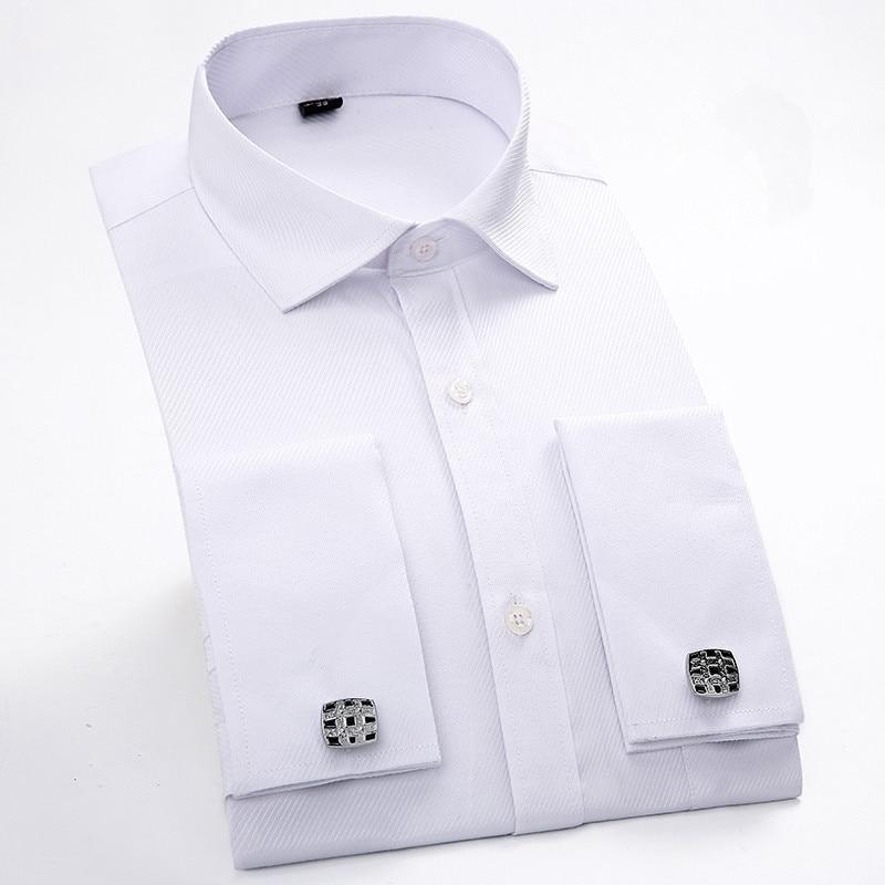 New 2017 France Button Patchwork White Collar Print Men