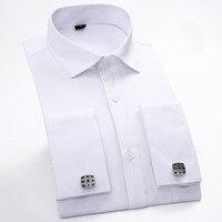 Nieuwe 2017 Frankrijk Knop Patchwork witte kraag Print mannen overhemden hoge kwaliteit regelmatige lange mouwen twill bruidegom shirt