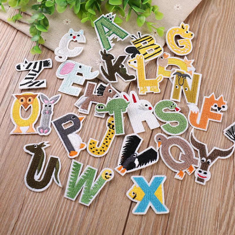 Dibujos animados de Color lindo alfabeto de hierro en la carta parche biker apliques, parches para la ropa bebé pegatina de tela bordado nombre parche