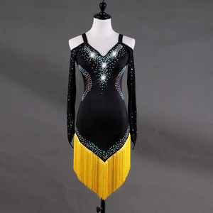 Image 4 - Custom made Latin dans elbise kadın kızlar Rumba Cha cha etek balo salonu yarışması kostüm giyim elmas dans elbise