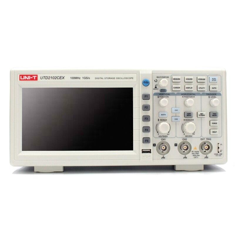 UNI-T Oscilloscopio Digitale 100 MHz di Banda UTD2102CEX con Interfaccia USB OTG 2 Canali di Stoccaggio Oscilloscopio Portatile