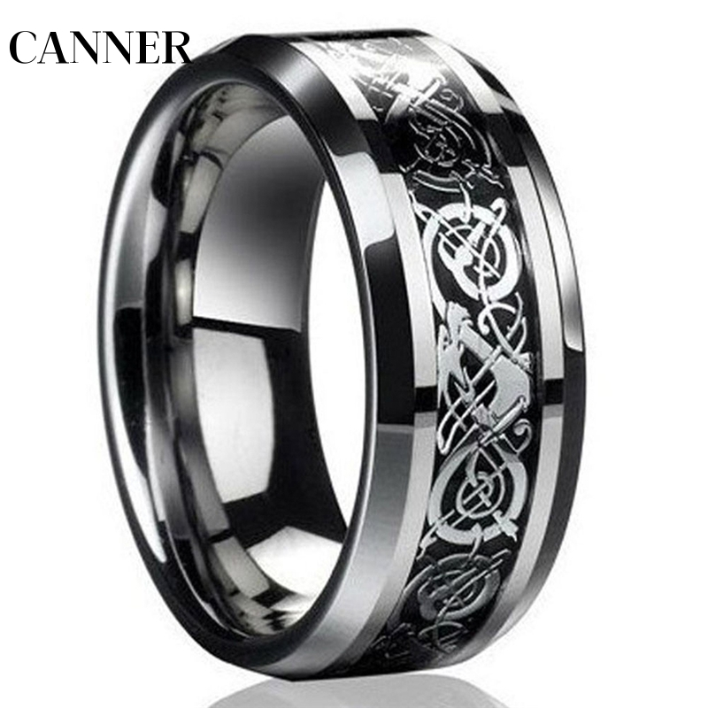 CANNER Fashion Silver Dragon Titanium Men 39 s Wedding Band Rings jwelry for women Wholesale R4 in Rings from Jewelry amp Accessories