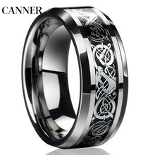 CANNER Fashion Silver Dragon Titanium Men's Wedding Band Rings jwelry for women Wholesale R4 цена и фото