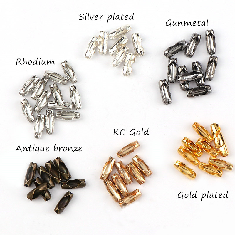 300 New Gold Dull Silver Bronze Plated Connectors Clasp Fit 1.5mm Ball Chains