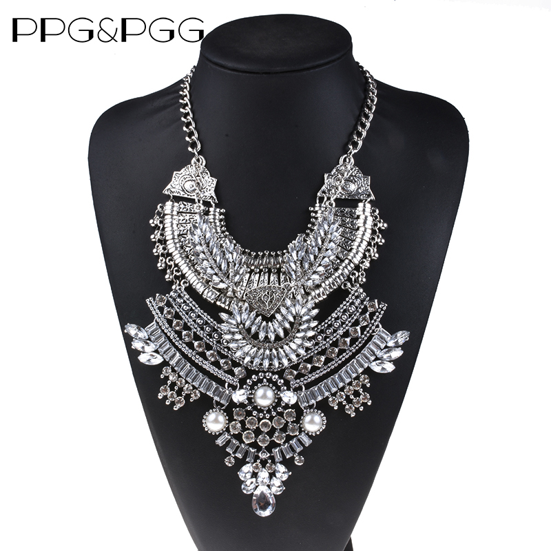 5c899d6886 PPG&PGG Statement Fashion Women Black Stones Pendant Collier Femme Collar  Choker Vintage Maxi Chunky Necklace Jewelry ...