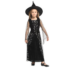 Lovely Mesh Silver Moon Witch Girl Sorceress Costume for Girls Child Halloween Carnival Party Mardi Gras Fancy Dress G-0304
