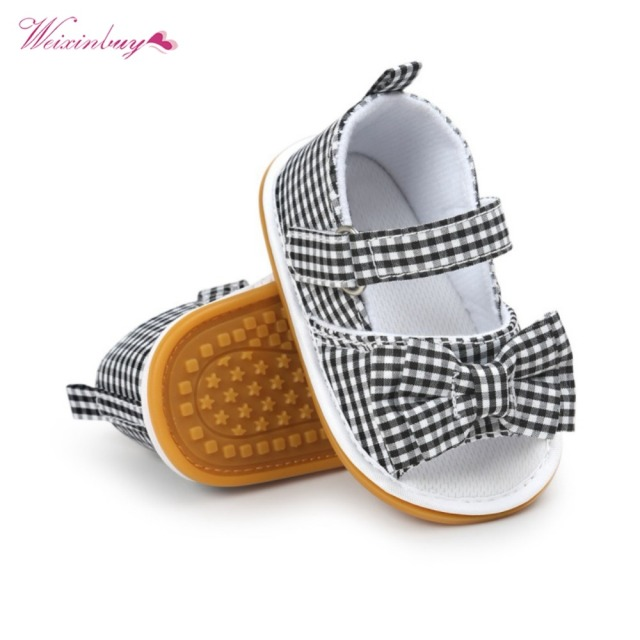 WEIXINBUY Girls Summer Cute Tartan Princess Style Bowknot Breathable Non-slip Soft Bottom Cack First Walkers 0-18M 4