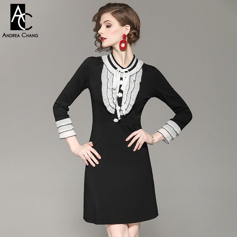 Kadın Giyim'ten Elbiseler'de Sonbahar bahar kadın elbise beyaz ruffled manşet göğüs siyah patchwork elbise yaka bow a line diz moda vintage sevimli elbise'da  Grup 1