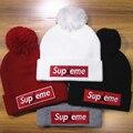 4 Colores Negro Rojo Blanco Gris Suprema Gorros Skullies Deportes Carta Bordado Sombrero de Moda de Invierno de Algodón Suave Tapa