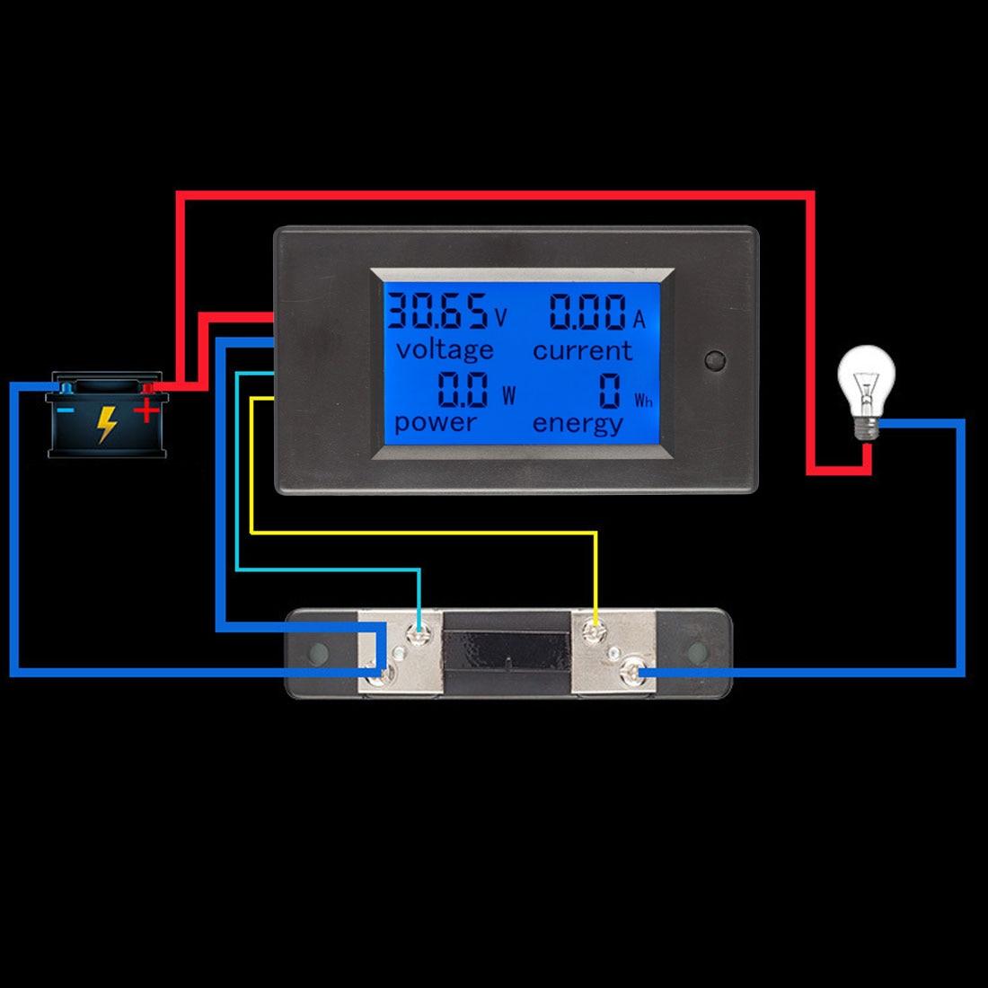 Power Energy Meter 100A Current Shunt Multimeter Ammeter Voltmeter DC 6.5-100V 0-100A LCD Display Digital Current Voltage