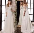 Half Sleeves Lace Wedding Dresses 2017 New Elegant Wedding Gown Vintage Bohemian A-Line Wedding Gown Custom Made WA138