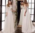 Medias Mangas de Encaje Vestidos de Novia 2017 Nuevo Vestido de Boda Elegante de Bohemia de La Vendimia Una Línea de vestido de Novia Por Encargo WA138