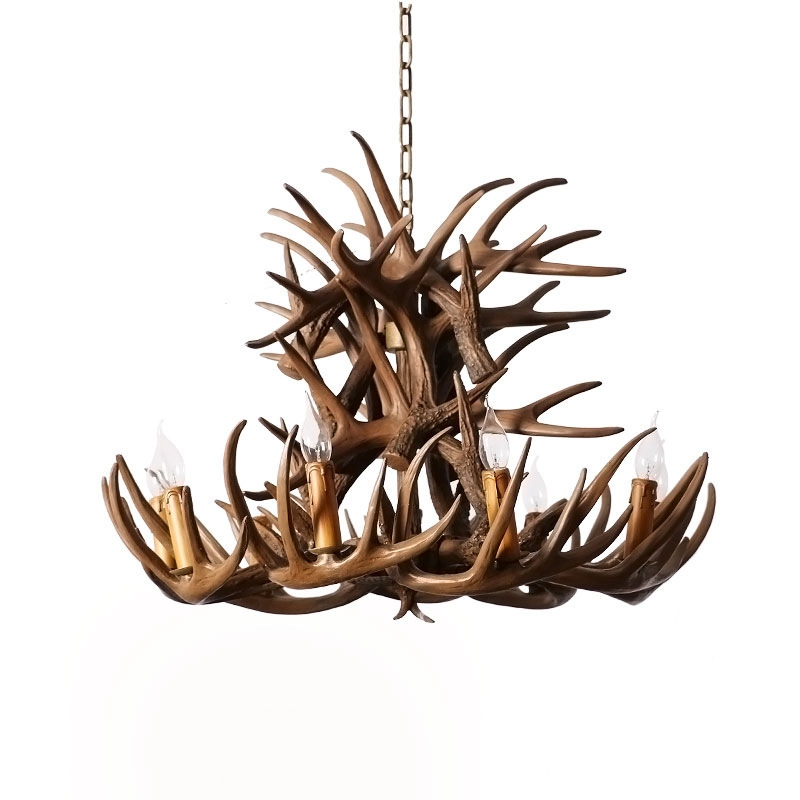 LukLoy American Country Antler Chandelier Retro Bar Restaurant Cafe Clothing Store Lobby Chandelier Resin Creative Antler Lamp american tracks industry retro chandelier bar coffee bar restaurant cafe clear chandelier clothing store