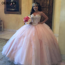 Plus Size Pink Girls Quinceanera Dresses Sparkly Sequins Crystals Tulle Sweet 16 Prom Birthday Wear Spaghetti Straps Corset Back