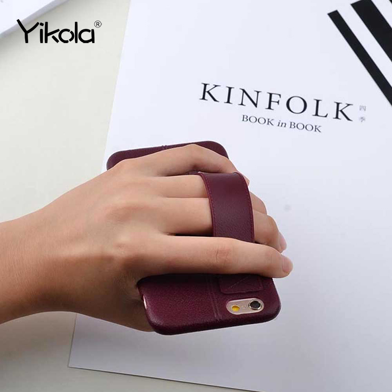Fashion PU Leather Sticker Case For iPhone 7 7 Plus 6 6S Plus 4.7 5.5 inch Hand Hold Strap Grip Holder Soft TPU Back Cover