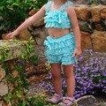 Estilo do verão das meninas bonitos rendas ruffle macacão biquíni aqua rendas biquíni com alças lotes das cores disponíveis frete grátis