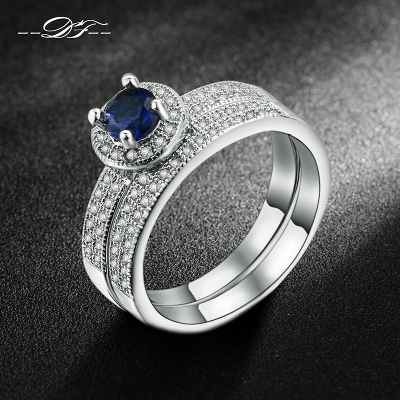 White Gold Plated Blue CZ Stone Ring Sets Fashion Wedding