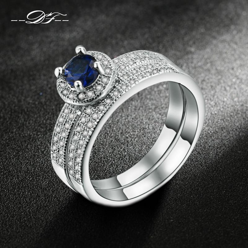 White Gold Plated Blue CZ Stone Ring Sets Fashion Wedding