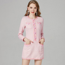 Gulinazars New Pink Fragrant Tweed Dress of The Same Style In Early Spring 2019 Fashion Winter Dresses Women A-Line Plaid