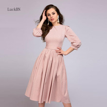 Pink Polka Dot Print Dress Autumn Slim Casual Elegant Women Fashion Vintage Bow Tie Waist Party Dresses Vestidos De Fiesta